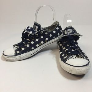 Converse Blue and White Polka Dot Low Top Sneakers